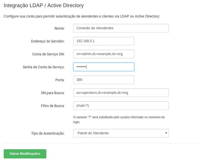 Página de configuração para LDAP.